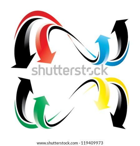 flowing arrow wheel - blue, yellow, red and green arrows