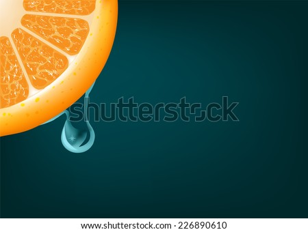 Flowing down drop on an orange segment. Vector background - stock vector