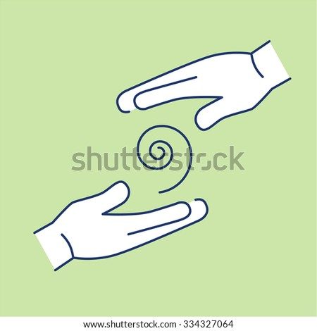 Flowing healing energy between two hands white linear icon on green background | flat design alternative healing illustration and infographic - stock vector