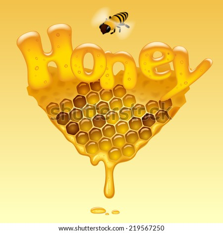Flowing honeycomb background with Honey letters and a bee. Honey sign. Vector illustration. - stock vector