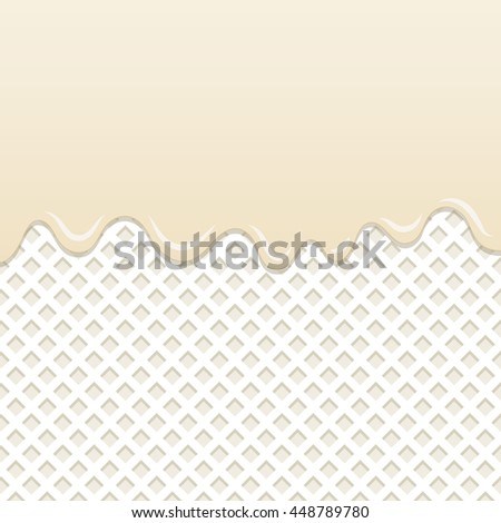 Flowing milk cream melt on milk wafer background.