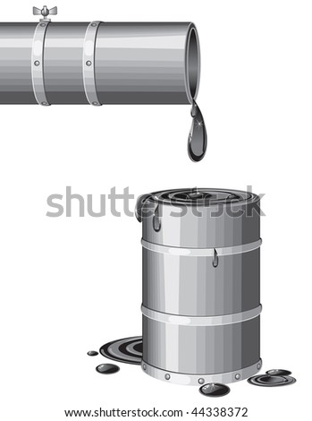 Flowing oil from pipeline - stock vector