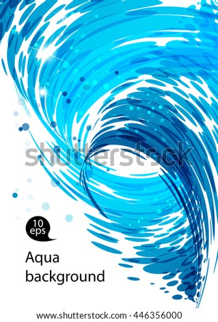 Flowing water, water stream falling, spiral motion, abstract blue background