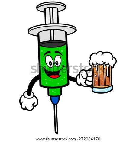 Flu Shot with Beer - stock vector