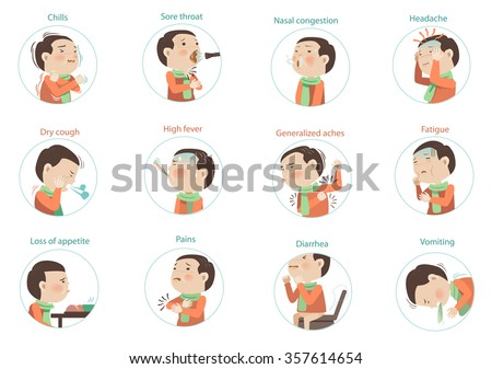 flu symptoms (influenza)kids Character sets. vectors illustrations - stock vector