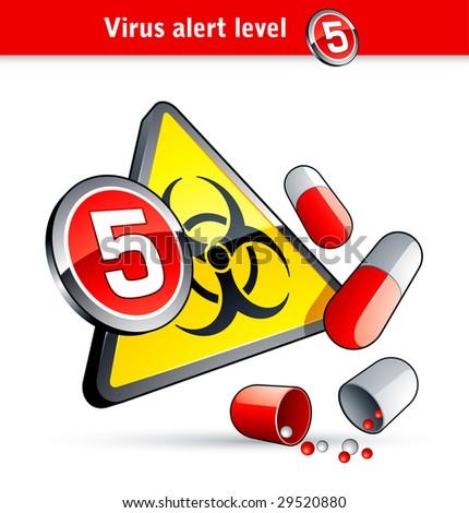 Flu Virus alert number five - stock vector