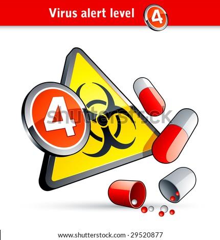 Flu Virus alert number four - stock vector