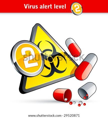 Flu Virus alert number two - stock vector