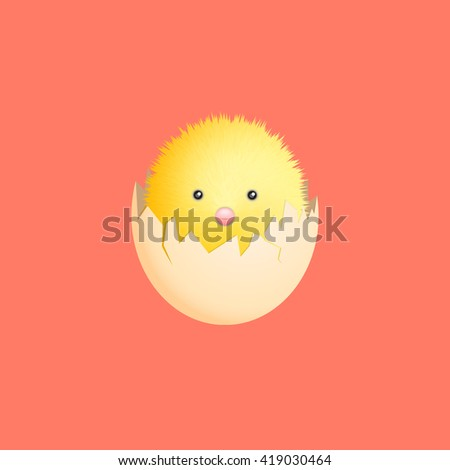 Fluffy chick - stock vector