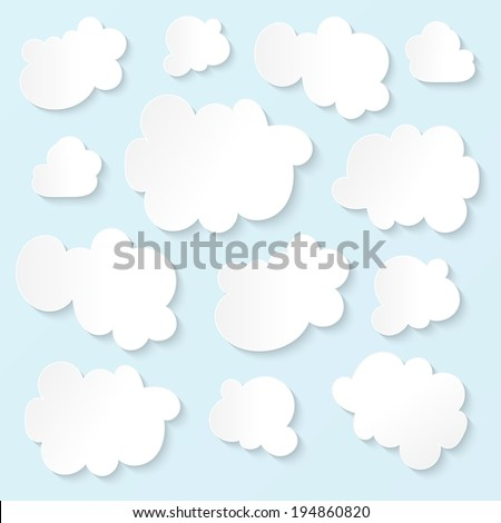 Fluffy white clouds blue sky - stock vector