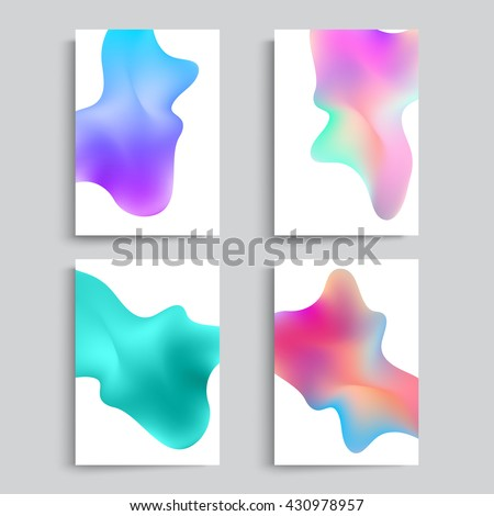 Fluid colors backgrounds set. Abstract shapes with hipster colors. Applicable for gift card,cover,poster. Vector template.  - stock vector