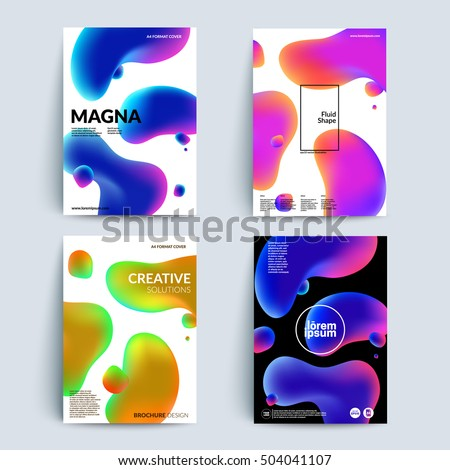 Fluid colors backgrounds set. Fluid shapes with hipster colors. Applicable for gift card,cover,poster. Eps10 vector template.