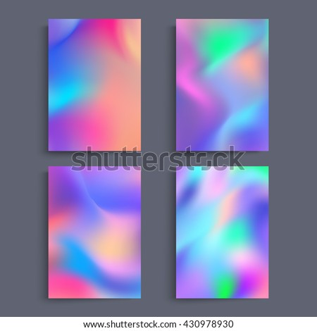 Fluid colors backgrounds set. Holographic effect. Applicable for gift card,cover,poster,brochure,magazine. Vector template.  - stock vector