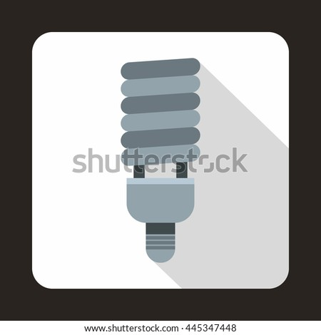 Fluorescent bulb icon in flat style on a white background - stock vector