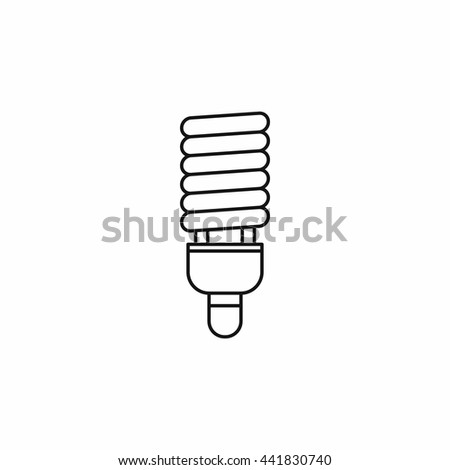 Fluorescent bulb icon in outline style isolated on white background