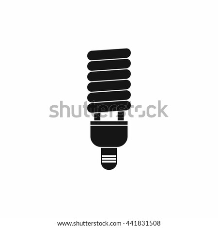 Fluorescent bulb icon in simple style isolated on white background - stock vector