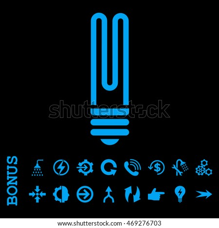 Fluorescent Bulb vector icon. Image style is a flat iconic symbol, blue color, black background.