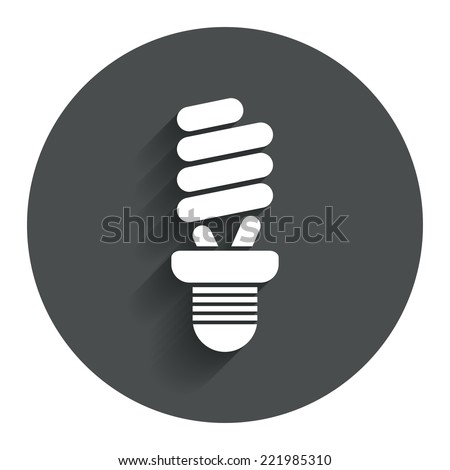 Fluorescent lamp bulb sign icon. Energy saving. Idea and success symbol. Circle flat button with shadow. Modern UI website navigation. Vector - stock vector