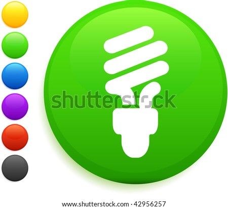 fluorescent light bulb icon on round internet button original vector illustration 6 color versions included - stock vector