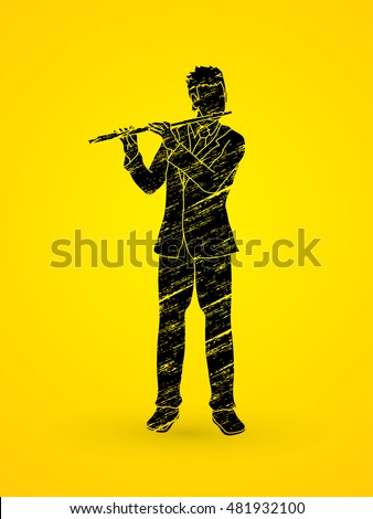 Flute player designed using grunge brush graphic vector.