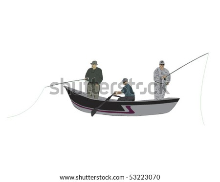 Fly fishermen in drift boat with guide - stock vector