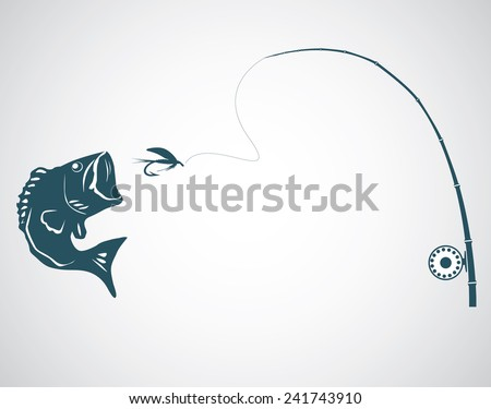 Fly fishing concept on the gray background. Vector. - stock vector