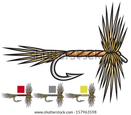 fly fishing flies (fishing fly, fly fishing lure, fishing hand made flies) - stock vector