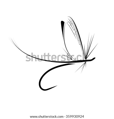 Fly fishing icon on the white background - stock vector