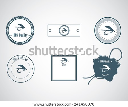 Fly-fishing on the gray backdrop. Vector illustration. - stock vector