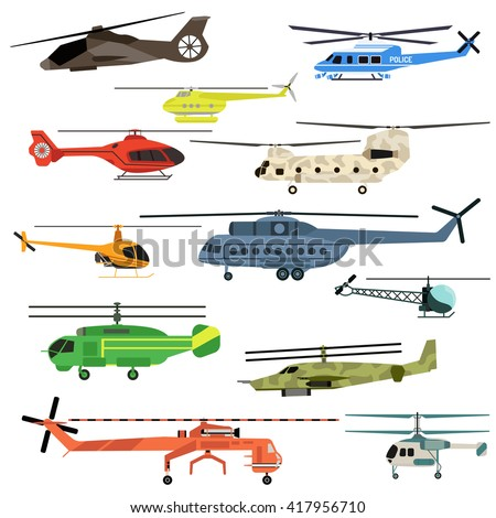 Fly helicopters collection vector. Helicopters fly air transportation and sky rotor helicopters. Helicopters travel aviation propeller, copter vehicle helicopters engine emergency speed aerial. - stock vector