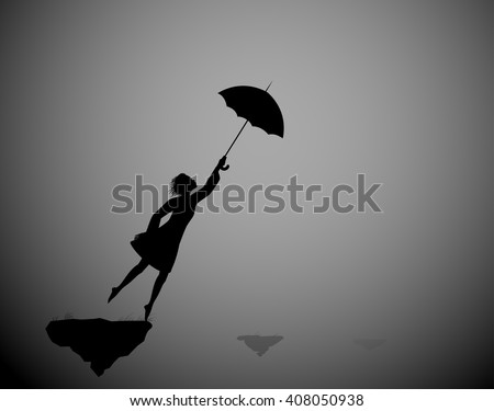 Girl standing in the wind silhouette