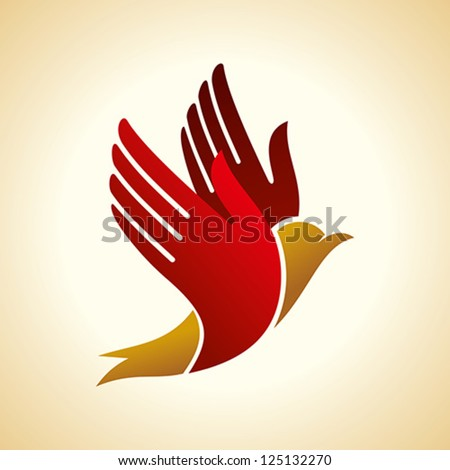 fly of bird to hand. creative idea - stock vector