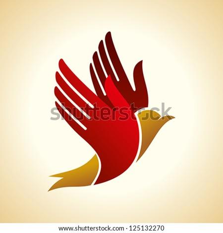 fly of bird to hand. creative idea - stock vector