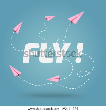 fly - paper planes - background - stock vector
