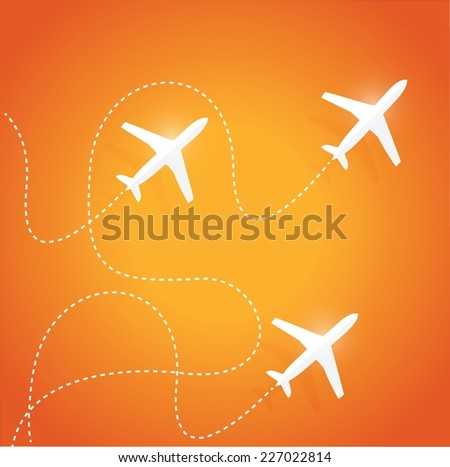 fly routes and airplanes. illustration design over a orange background - stock vector