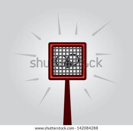 Fly swatter hitting and squishing bug  - stock vector