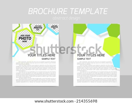 Flyer back and front template design with blue and green hexagons