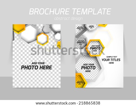 Flyer back and front template design with hexagons - stock vector