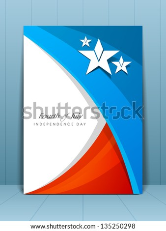 Flyer, banner or card for American Independence Day in flag color designs. - stock vector
