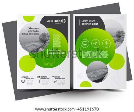 Flyer brochure design, business flyer size A4 template, creative leaflet, trend cover sphere disc green - stock vector