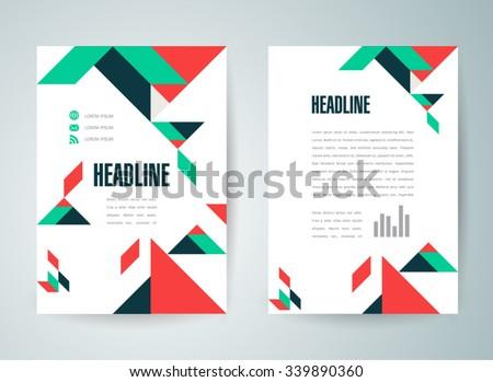 flyer brochure design template abstract triangles figures - stock vector