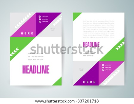 flyer brochure design template geometric abstract triangles colored - stock vector