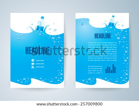flyer brochure design template water aqua splash bottle drops element design - stock vector