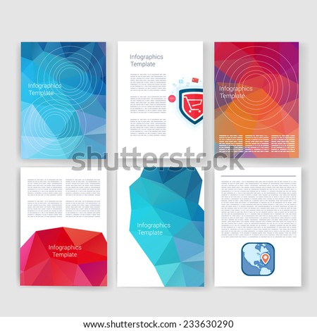 Flyer, Brochure Design Templates set. Geometric Triangular Abstract Modern Backgrounds. Mobile Technologies, Applications and Infographic Concept. Geometric Triangular Abstract Modern Backgrounds. - stock vector