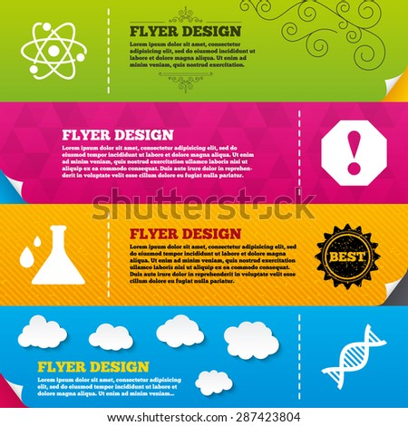 Flyer brochure designs. Attention and DNA icons. Chemistry flask sign. Atom symbol. Frame design templates. Vector - stock vector