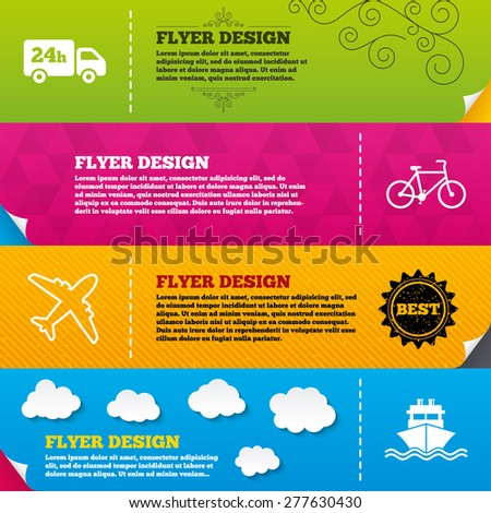 Flyer brochure designs. Cargo truck and shipping icons. Shipping and eco bicycle delivery signs. Transport symbols. 24h service. Frame design templates. Vector - stock vector