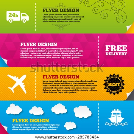 Flyer brochure designs. Cargo truck and shipping icons. Shipping and free delivery signs. Transport symbols. 24h service. Frame design templates. Vector - stock vector