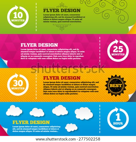 Flyer brochure designs. Every 10, 25, 30 minutes and 1 hour icons. Full rotation arrow symbols. Iterative process signs. Frame design templates. Vector - stock vector