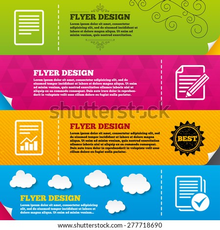 Flyer brochure designs. File document icons. Document with chart or graph symbol. Edit content with pencil sign. Select file with checkbox. Frame design templates. Vector - stock vector