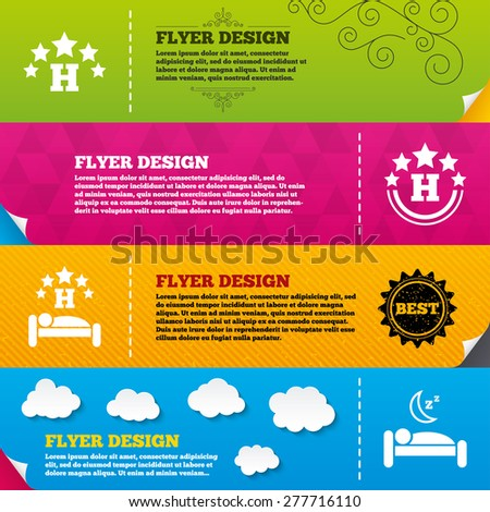 Flyer brochure designs. Five stars hotel icons. Travel rest place symbols. Human sleep in bed sign. Frame design templates. Vector - stock vector